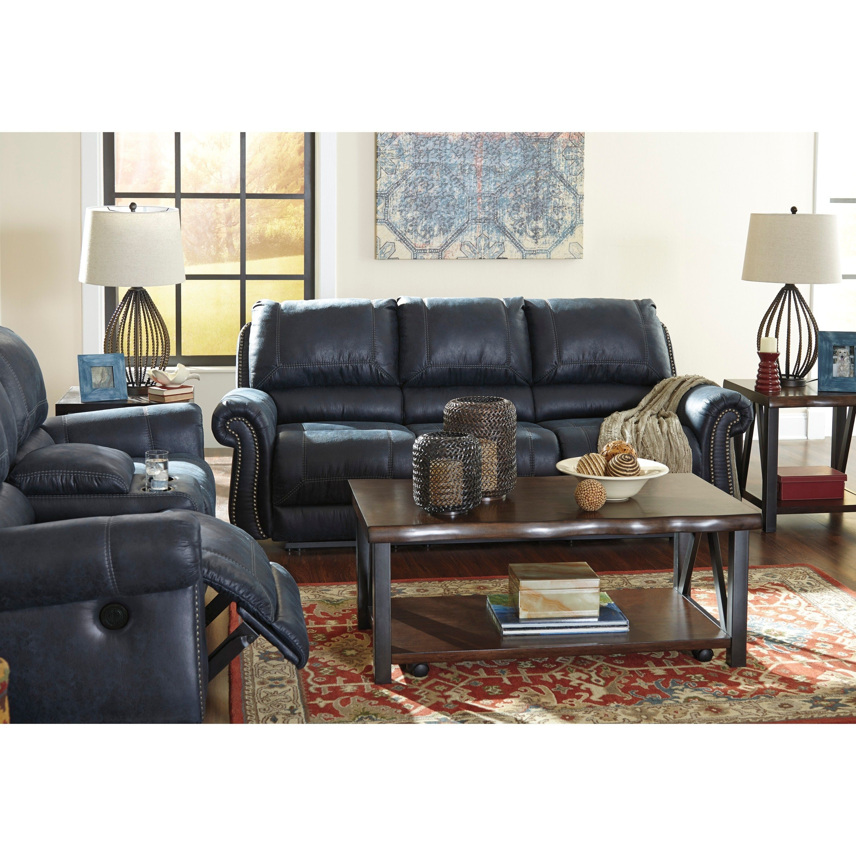 signature design by ashley milhaven navy reclining sofa reclining rh in pinterest com