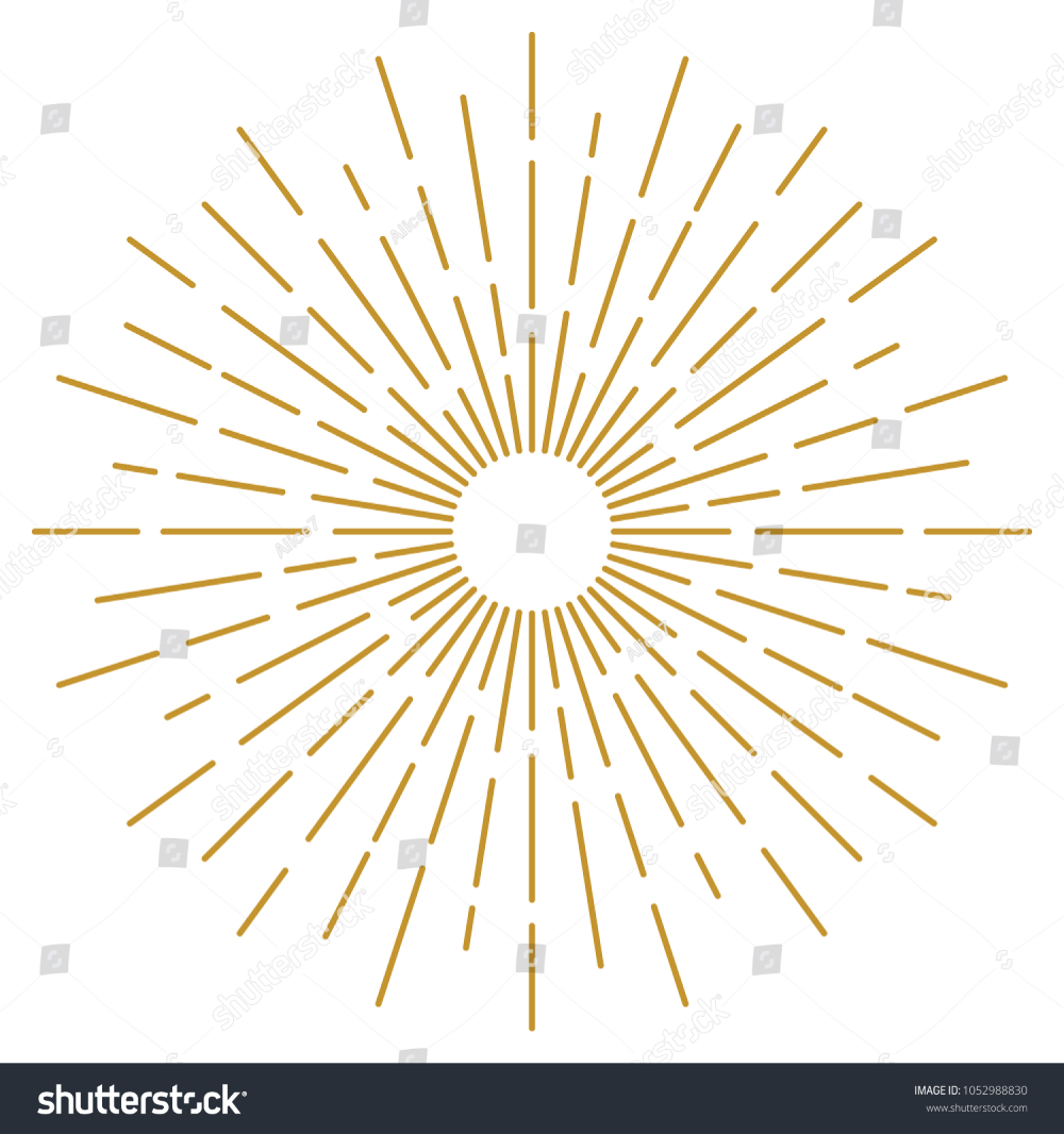 Golden Vintage Sunburst Design Vector Template Stock Vector Royalty Free 1052988830 Vintage Template Sunburst Vector