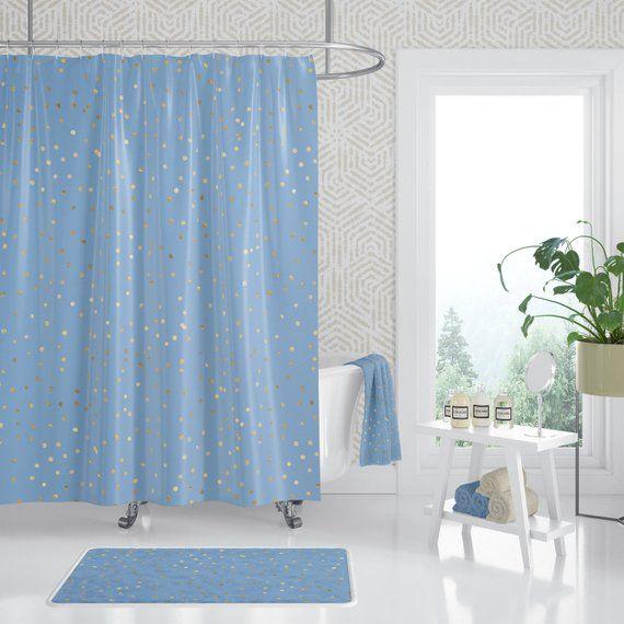 Blue Gold Confetti Bathroom Decor Set Long Shower Curtain Blue