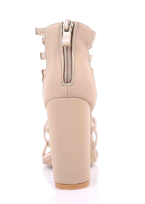 52b911ba66f Sweet eCom Women High Heels Sandals Extendable Strappy Open Toe Chunky  Heels Zipper Closure Faux Nubuck