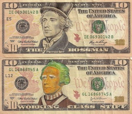 Currency defaced with pop culture icons