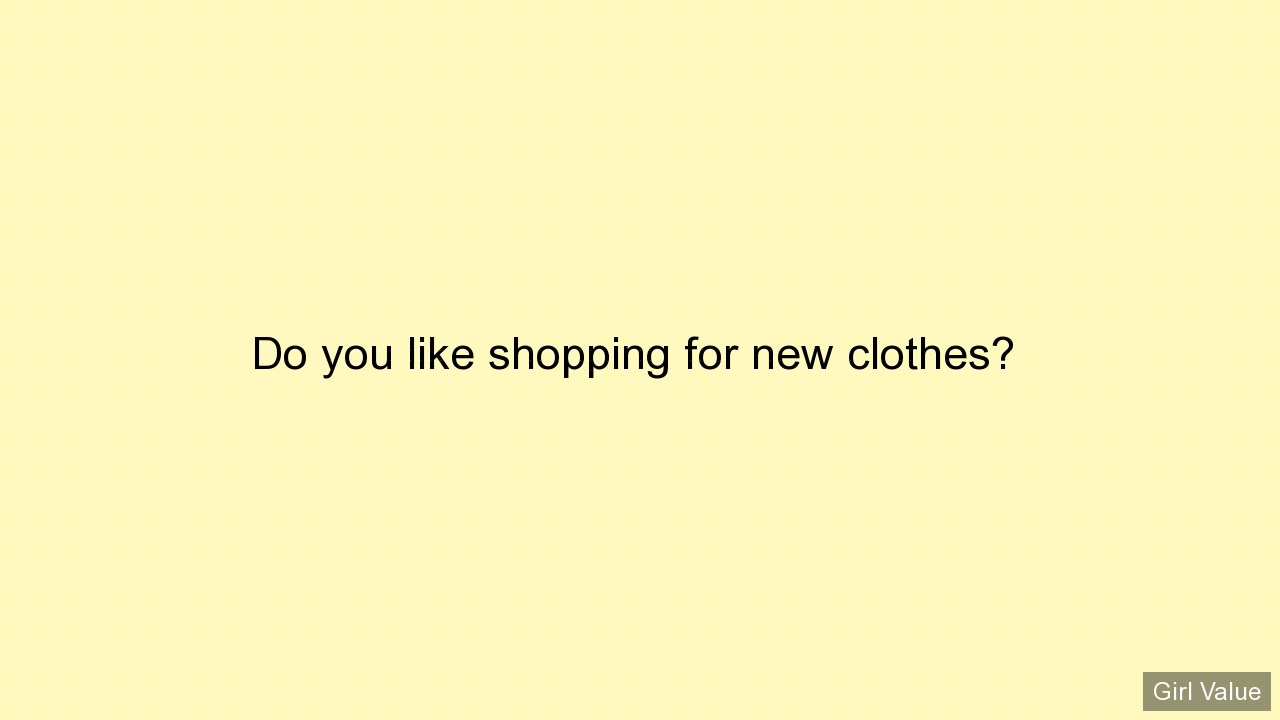 Do you like shopping for new clothes?