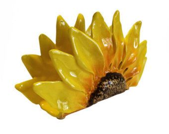 Sunflower napkins holder, hand made ceramic, ceramics and pottery,