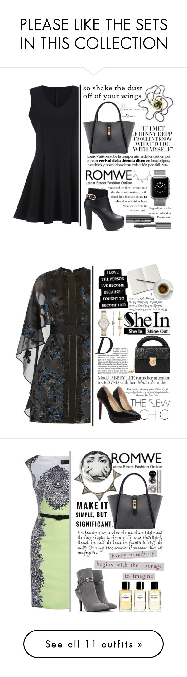 """""""PLEASE LIKE THE SETS IN THIS COLLECTION"""" by selmagorath ❤ liked on Polyvore featuring Bobbi Brown Cosmetics, David Yurman, black, romwe, blackboots, blackdress, blackoutfit, ANNA, Anja and FOSSIL"""