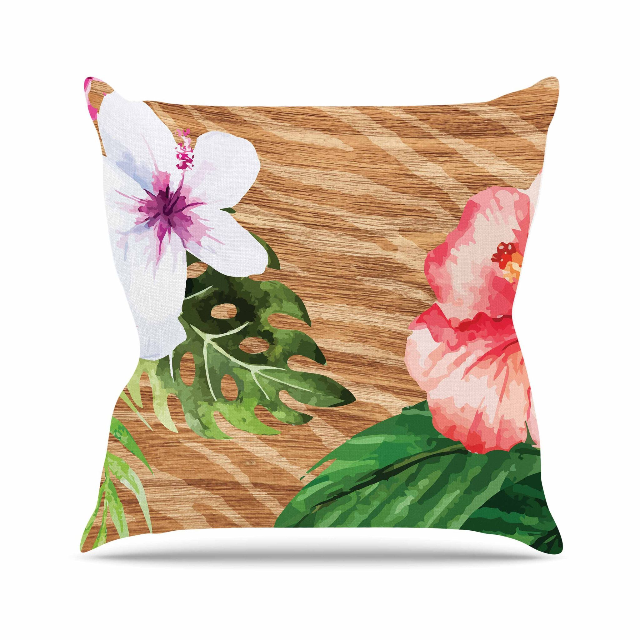 "NL designs ""Vintage Tropical Jungle "" Pink Floral Throw Pillow"