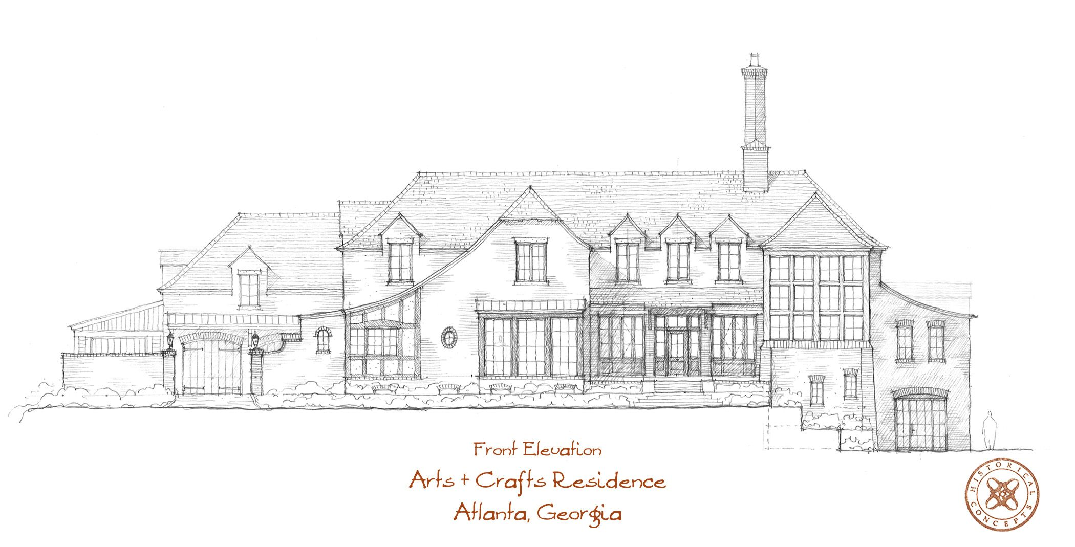 A hand sketch of the front elevation of an Arts & Crafts style