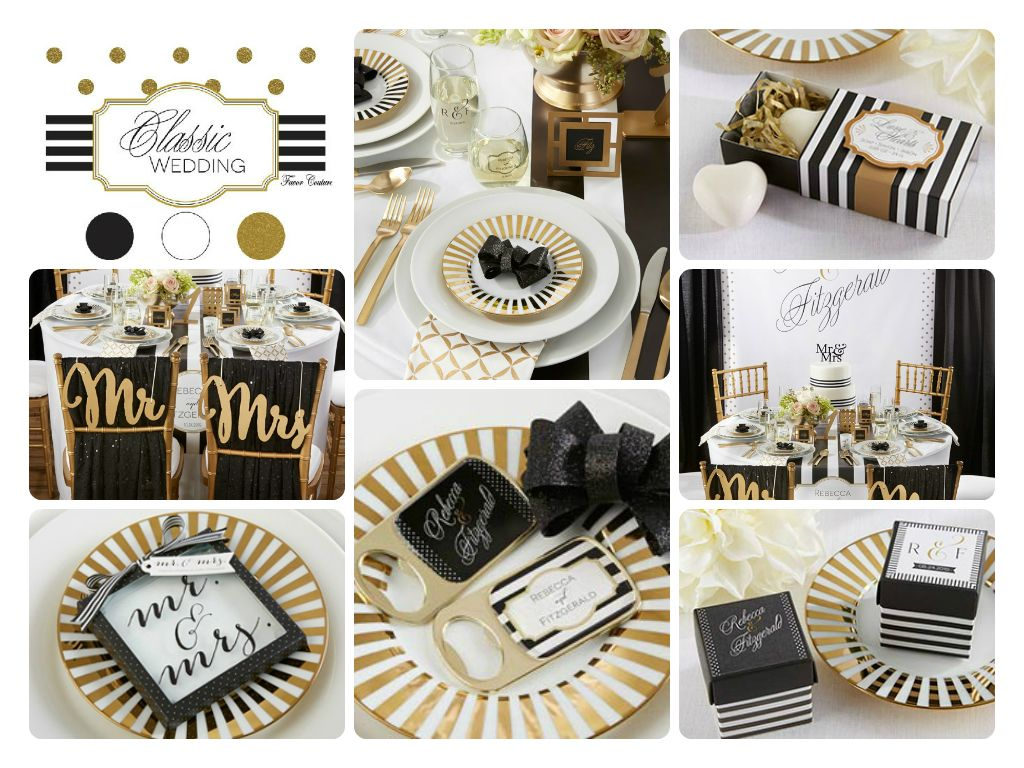 Mix black, white and gold for timeless wedding style. See the ...