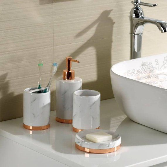 Marble Look With Rose Gold Trim 5 Piece Bathroom Accessory Set Ships From Usa In 2019 Gold Bathroom Accessories Bathroom Bathroom Accessories Sets