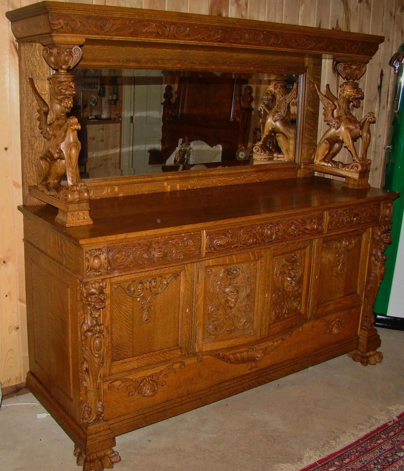 Oak Buffet With Carved Griffins. In 2019