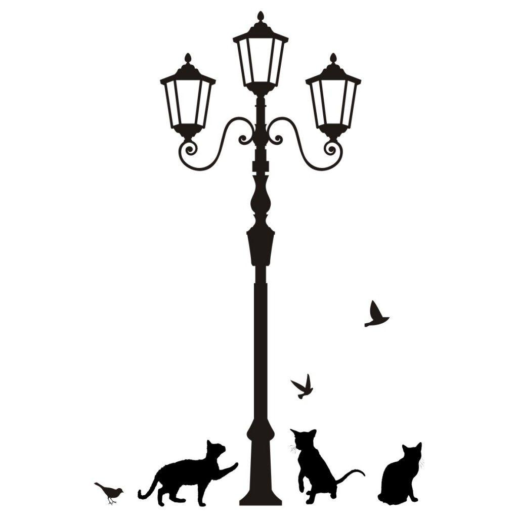 Lantern Cats Animal Vintage Street Art Vinyl Wall Decal Sticker Home Decor D