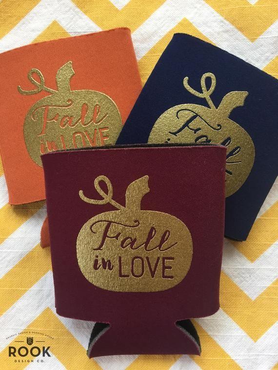Fall in Love wedding coolers, Fall wedding theme beer holders, Fall wedding, pumpkin fall in love ca #fallweddingideas