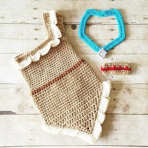 Crochet Baby Pocahontas Inspired Dress Necklace Arm Cuff Set Costume Dress Up Handmade Disney Inspired Baby Shower Gift Photography Photo Prop
