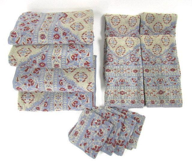Ralph Lauren Classic Towels: NEW LOT 12 RALPH LAUREN Light Blue Beige Red Floral Print