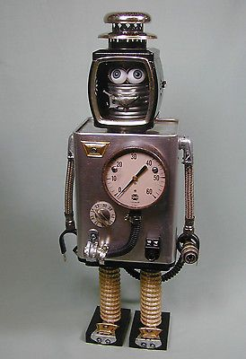 """MONTANA"" Found Object Robot Sculpture  Assemblage by Sally Colby"