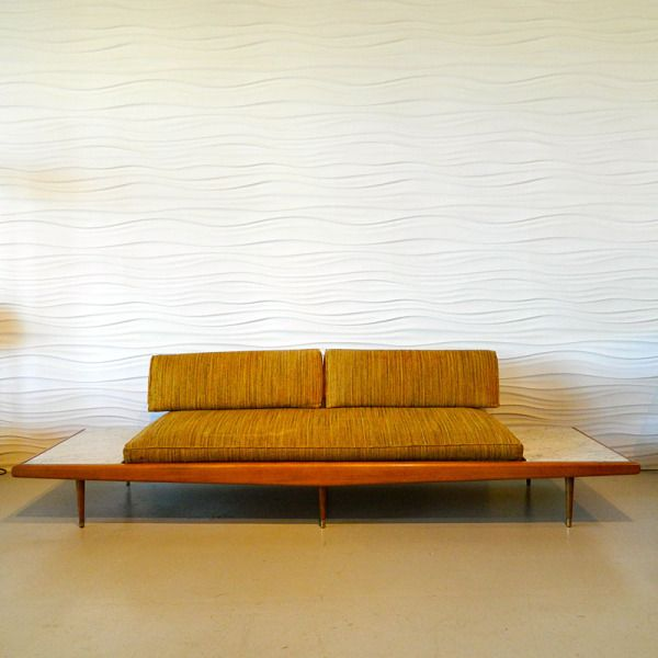 Adrian Pearsall Sofa With Marble Side Tables
