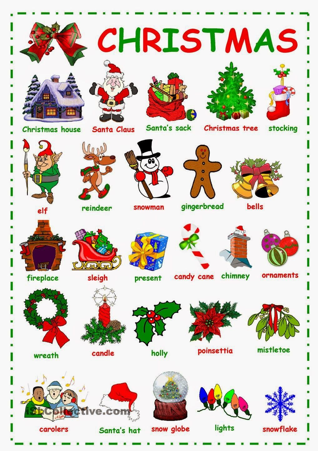 Image result for christmas vocabulary for kindergarten
