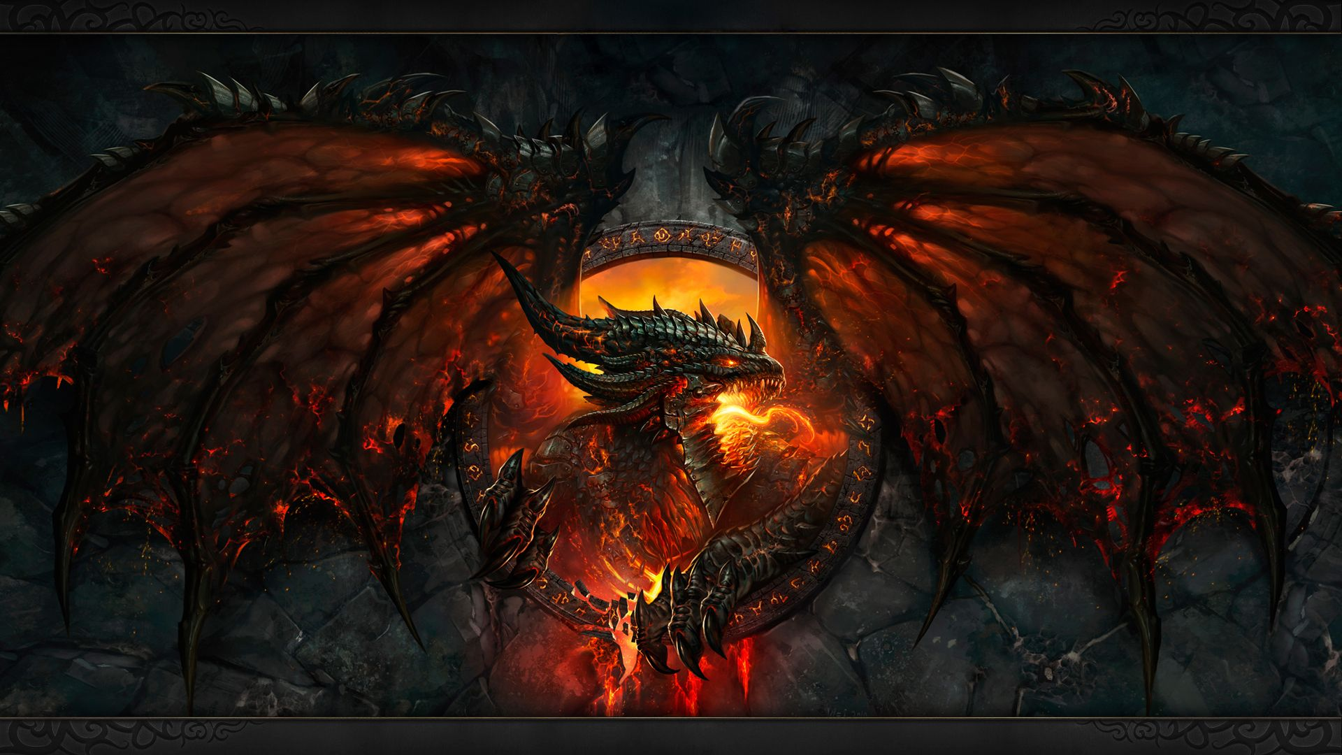 Blizzard Wow Cataclysm Fire Dragon Wallpaper Gb Hd