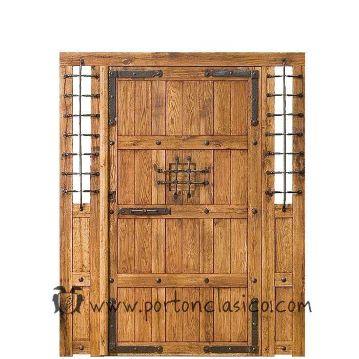 Puerta r stica granada 220x175x8 con dos fijos no m viles for Puerta madera rustica