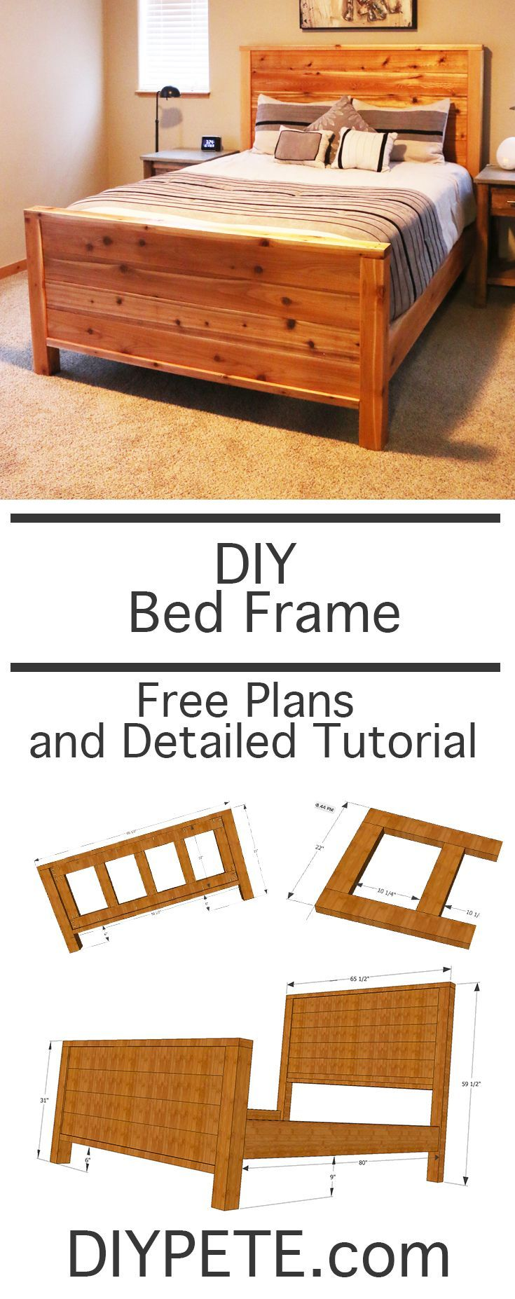 How to Make a Bed Frame – Free Bed Frame Plans   Pinterest   Wood ...