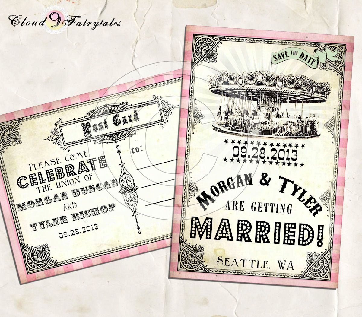 Carousel Save The Date Vintage Postcards Wedding Invitations