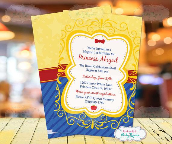 Snow White Birthday Party Invitationss Printed Snow White Snow White Birthday Snow White Invitations Snow White Birthday Party