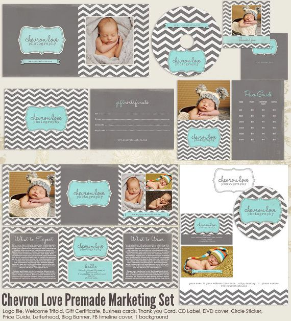 Chevron Love Premade Photography Marketing Set Templates - marketing timeline template