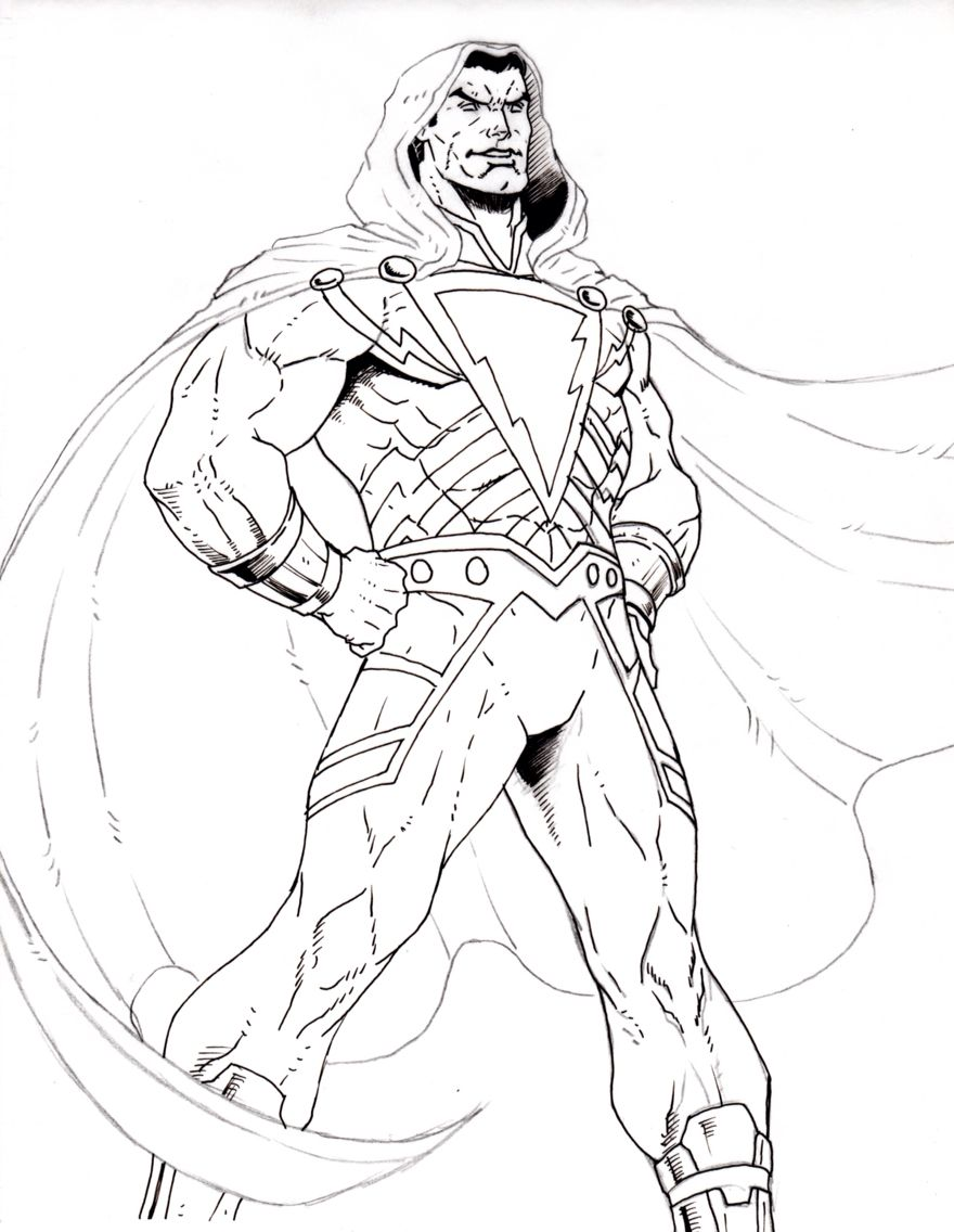 shazam drawing i started to ink almost done