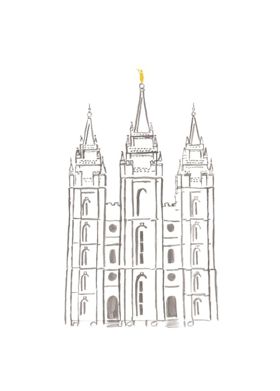 Simple Salt Lake Temple Watercolor Printable Lds Temple Art