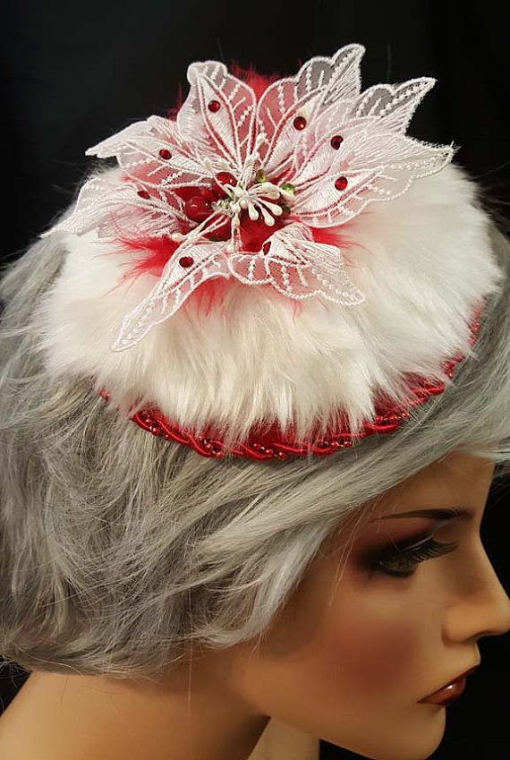 0b115cb0442f6 Christmas fascinator bling hat white faux-fur with red satin beaded ...