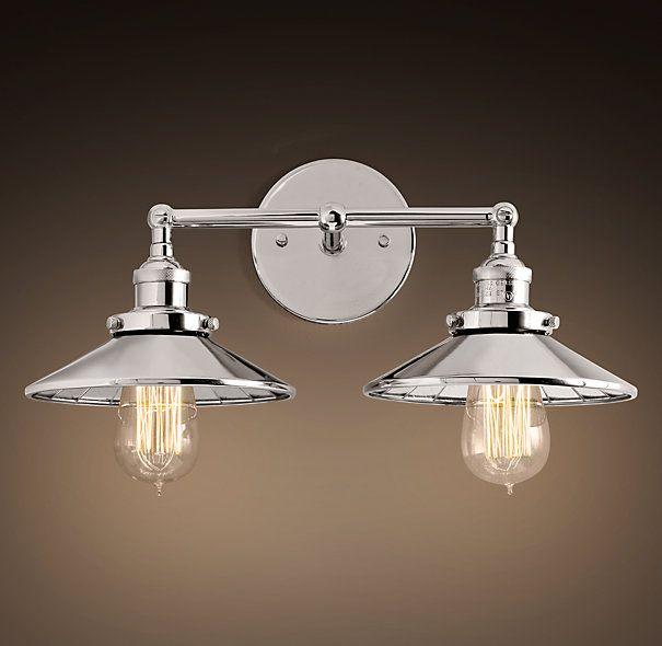 Reflector Filament Double Sconce Polished Nickel | Sconces | Restoration  Hardware · Vanity LightingBathroom ...