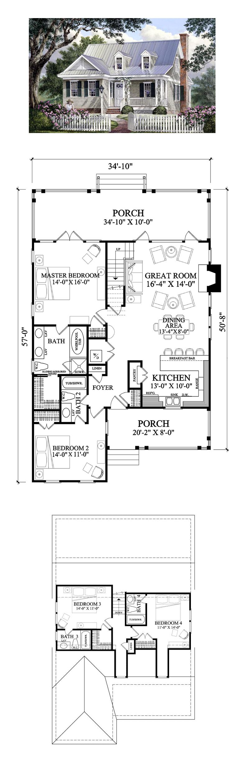 Cape Cod House Plan 86106 Total Living Area 1985 sq ft 4