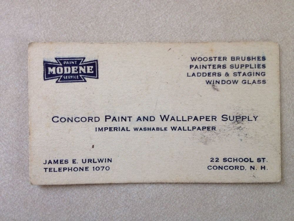 Vintage 40s 50s Business Trade Card Concord NH Paint Wallpaper James Urlwin