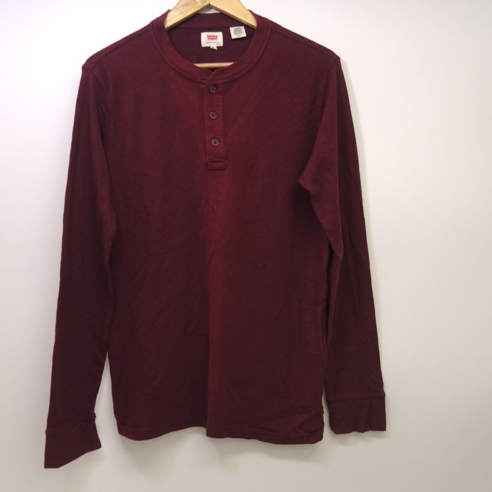 a89b59c583 New Levis Mens 19344 Red Knit Long Sleeve T-Shit Henley Thermal Shirt Size  Small  Levis  Henley