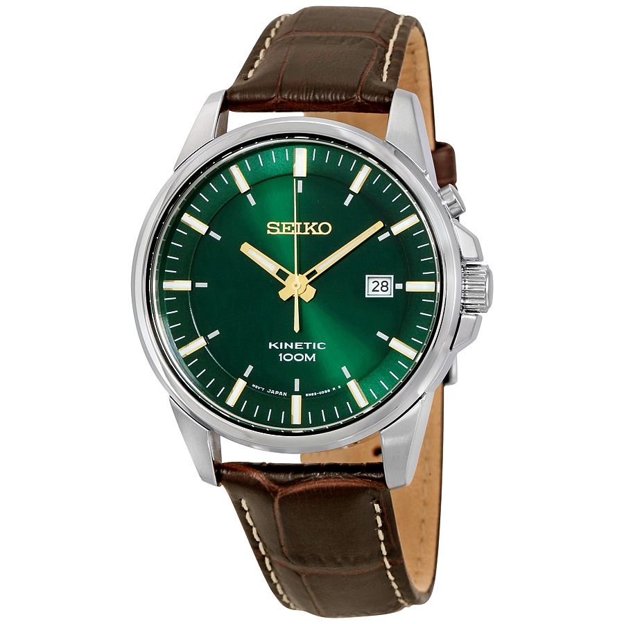 Seiko kinetic green dial leather men 39 s watch ska533 seiko shop watches by brand jomashop for Movado kinetic
