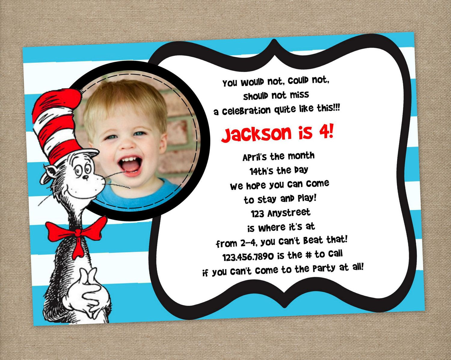 Custom Printable Dr Seuss Cat In The Hat By