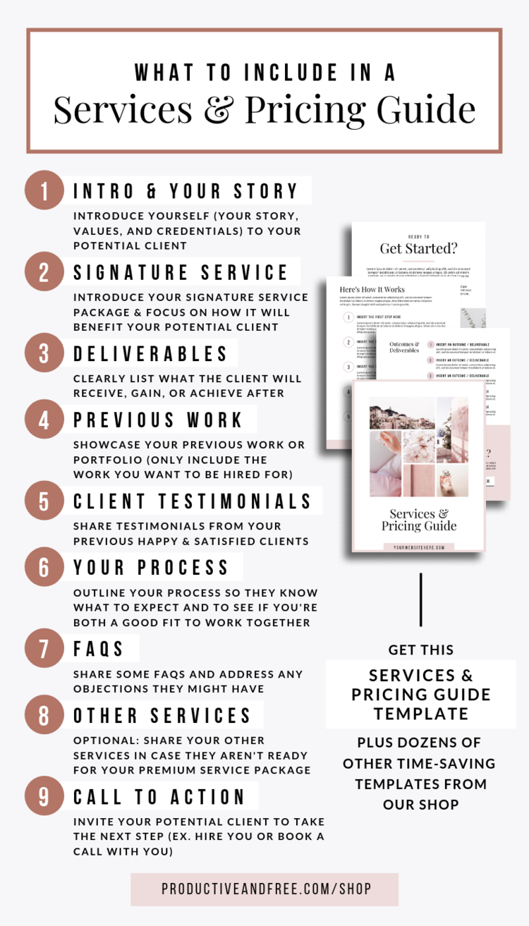 Services and Pricing Guide Template — Productive and Free