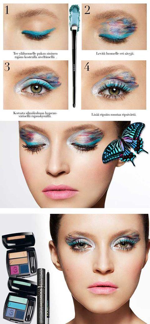 Avon Dreamy Blue -meikki sai inspiraationsa Beautiful Butterfly -uutuustuoksusta. Kuvatutoriaali näyttää step-bystep-ohjeet! | Makeup pictorial tutorial Avon Dreamy Blue