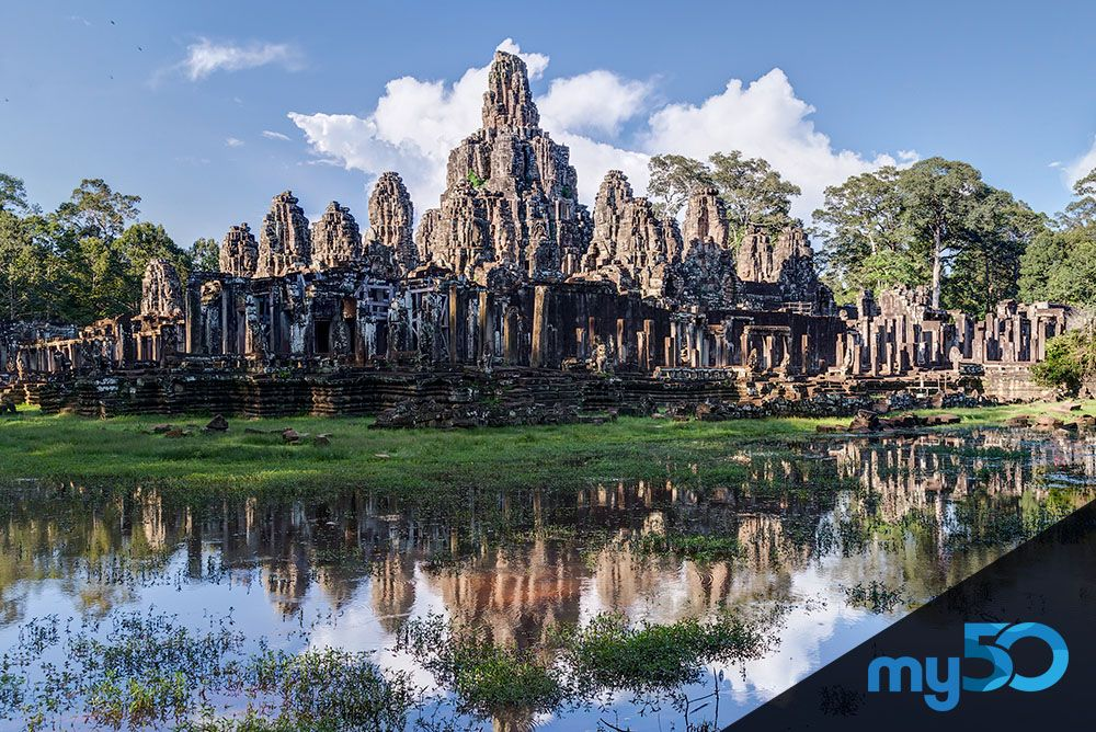 The Temple of Angkor Thom is awe inspiring. Travel there on your vacation as part of your bucket list goals.