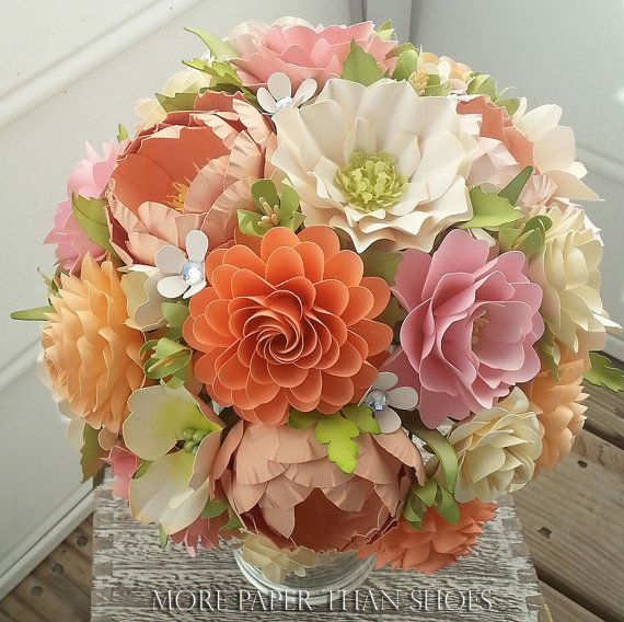 Paper Flower Bouquet Wedding Shades Of Peach And Pink With Country White Custom Made Any Color