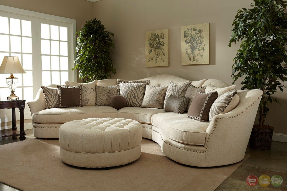 Amanda Transitional Curved Ivory Sectional Sofa w Loose Pillow Back