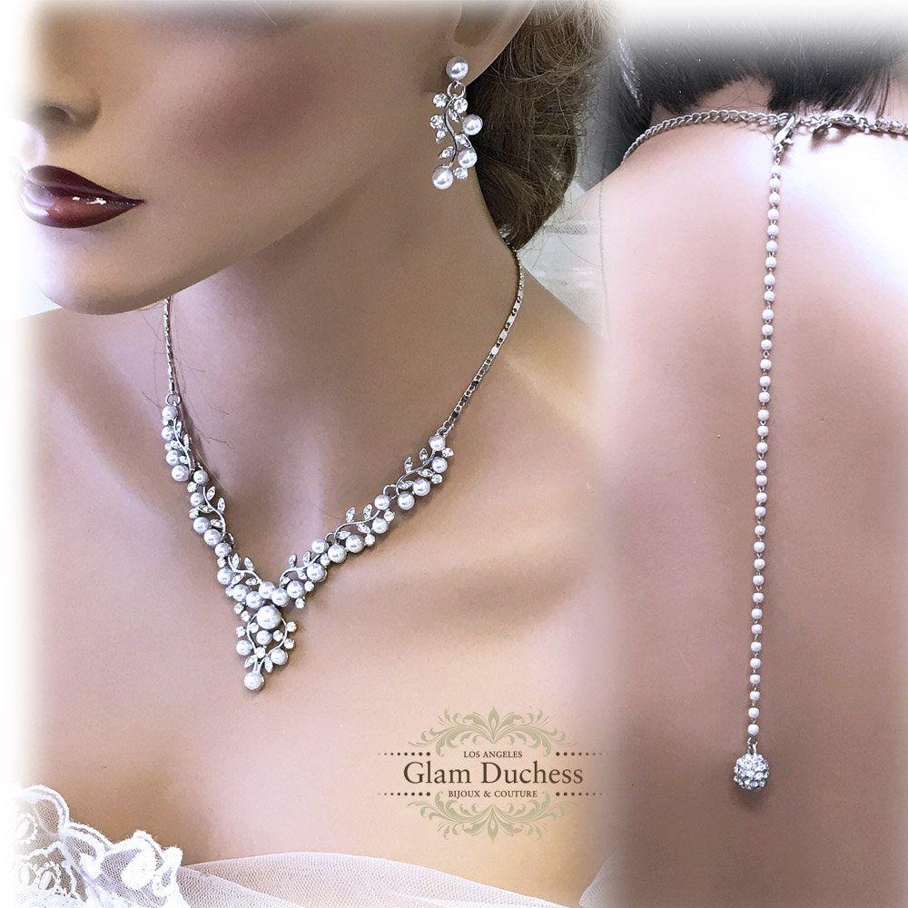 Bridal jewelry set bridal necklace backdrop necklace