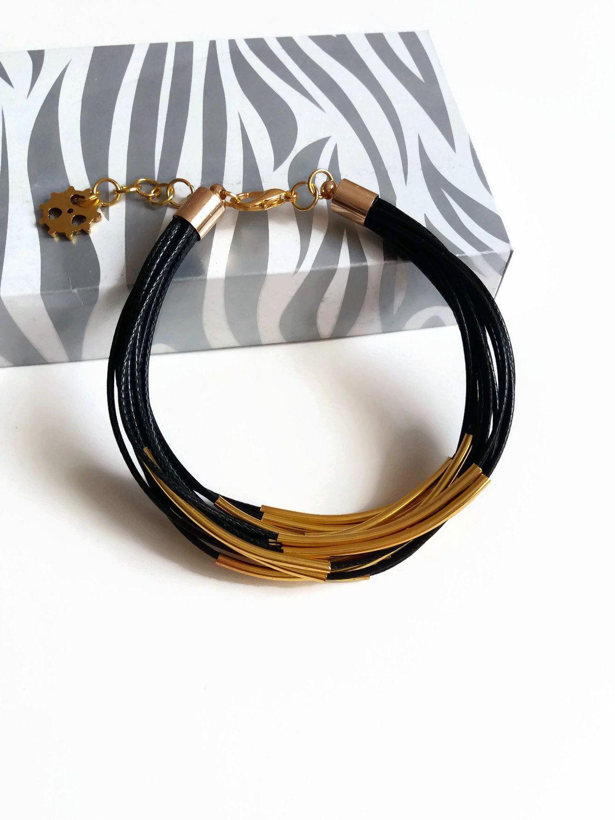 Black multi strand bracelet gold tube black bracelet women tube