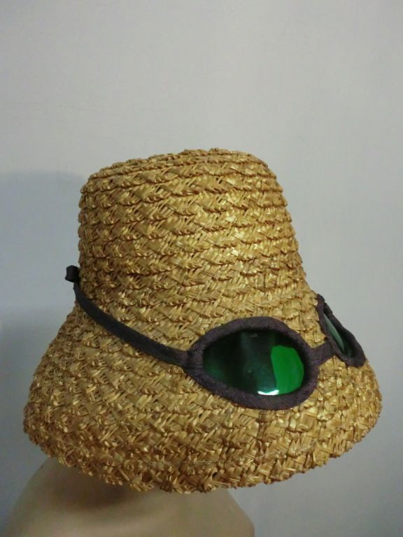 60s Novelty Straw Beach Hat w/ Built In