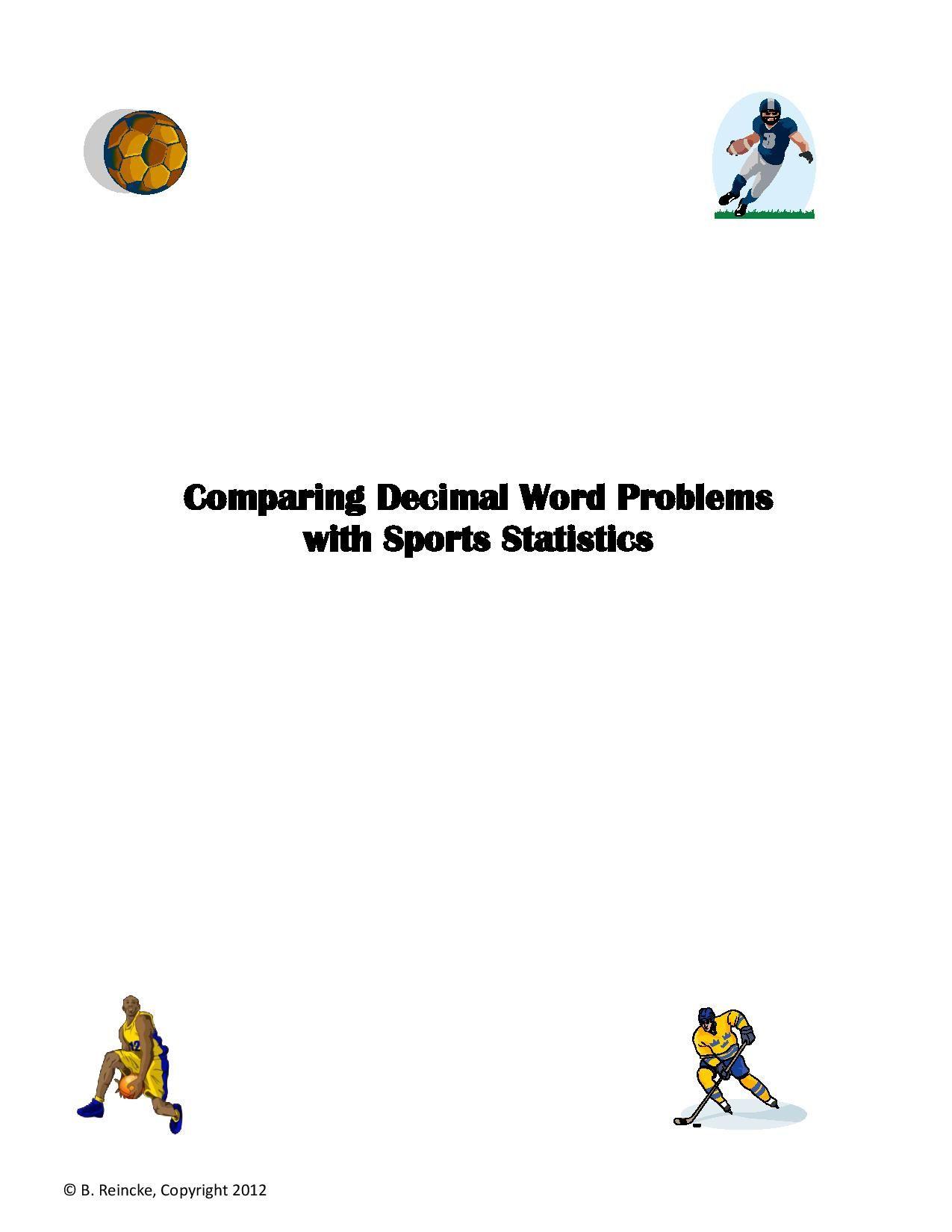 Comparing Decimals Using Sports Statistics 5 Worksheets