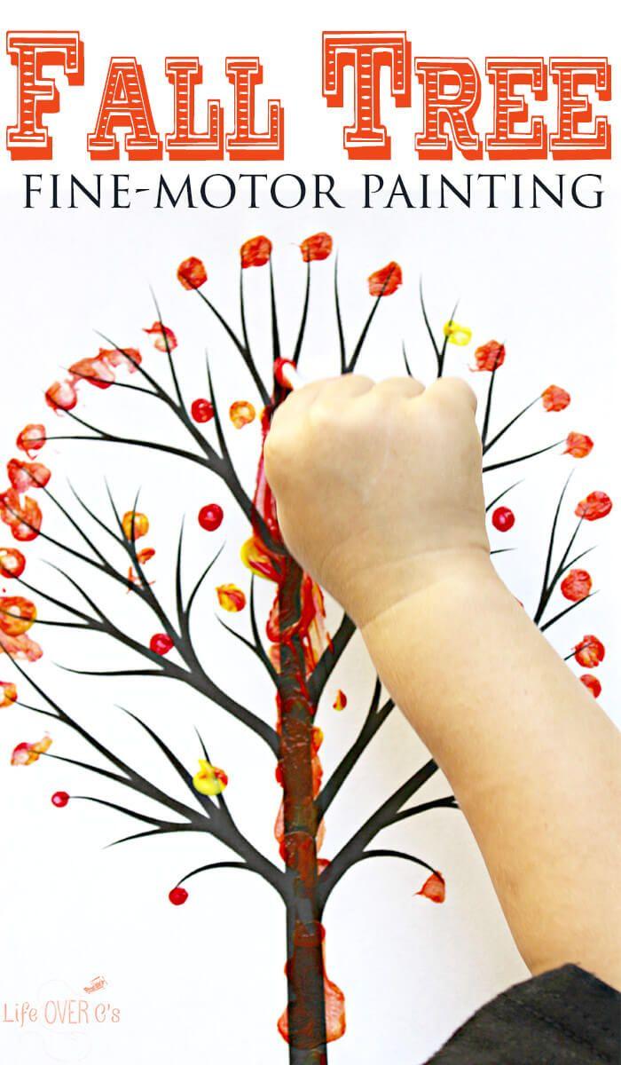 Q-Tip Fall Tree for Preschoolers #falltrees