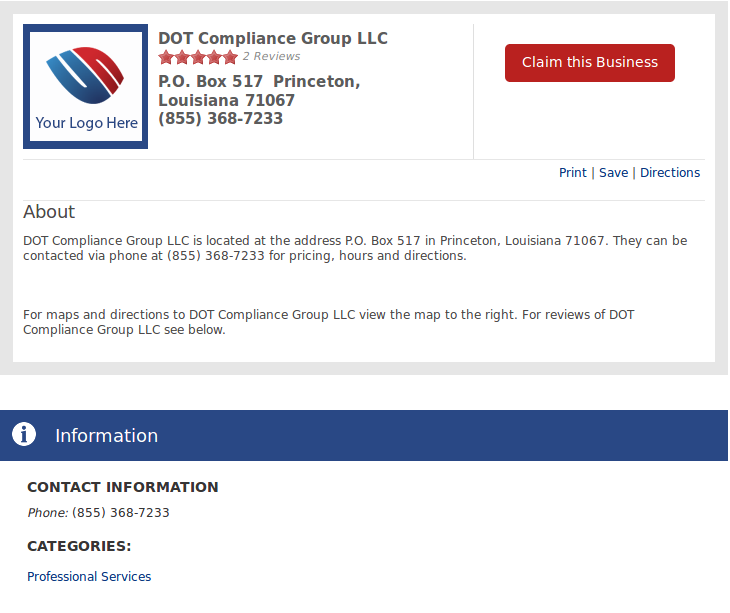 DOT Compliance Group LLC is located at the address P.O. Box 517 in ...