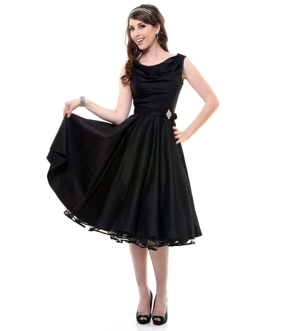 Black dress vintage - Black Scoop Neck Belted Swing Dress Unique Vintage Prom Dresses Retro Dresses