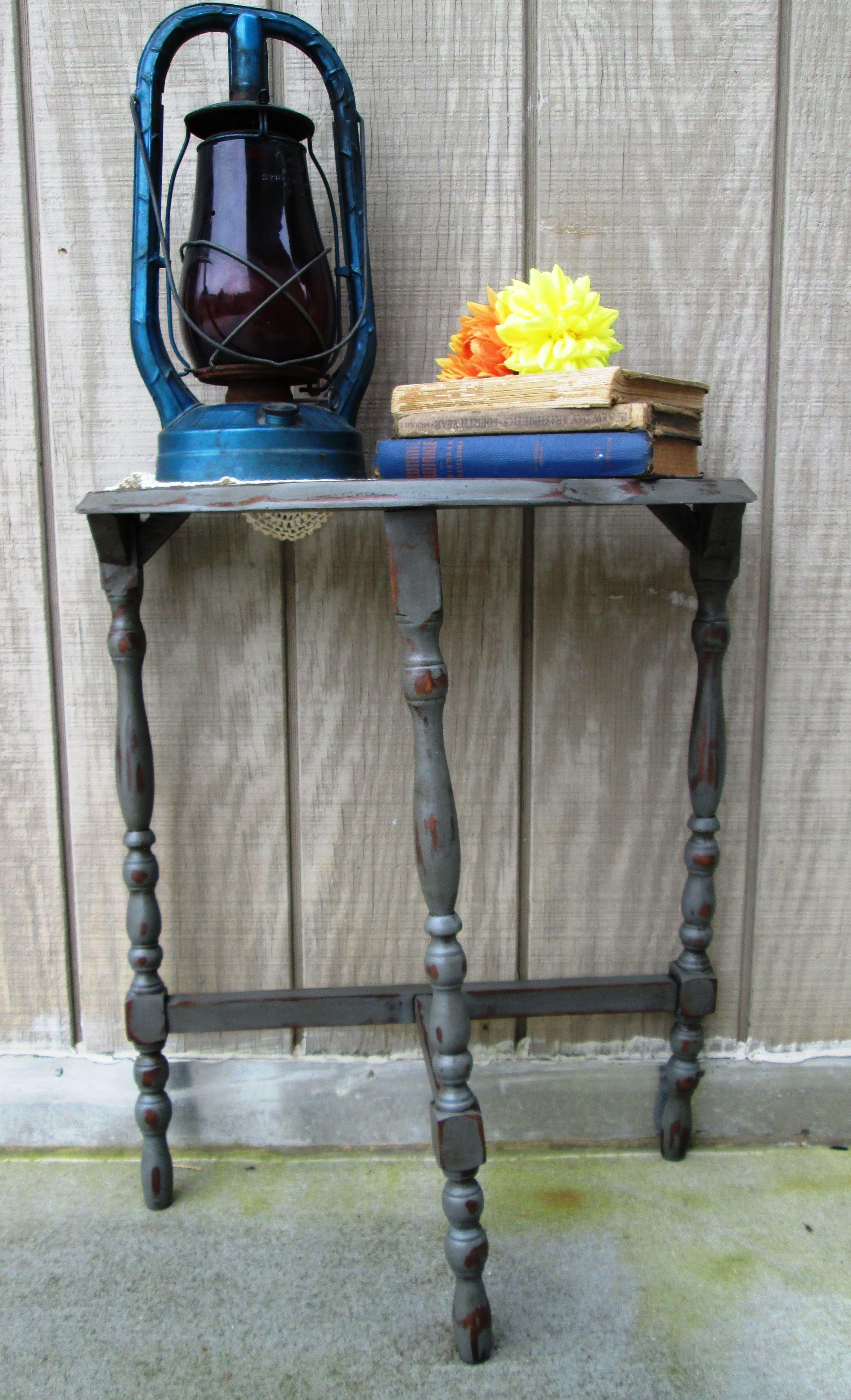 Antique solid wood three legged table half moon shabby