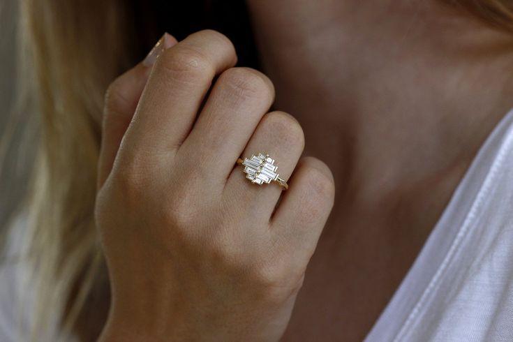 Photo of Art Deco Baguette Cluster Engagement Ring – Deco Baguette Ring, #Art #Artdecoengagementringon …