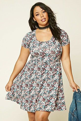 6a416007ffad9 Plus Size Floral Print Skater Dress